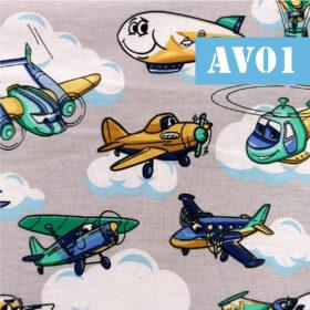 Masti din bumbac cu avioane si elicoptere
