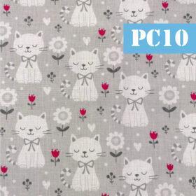 pc10 pisici flori fundal gri