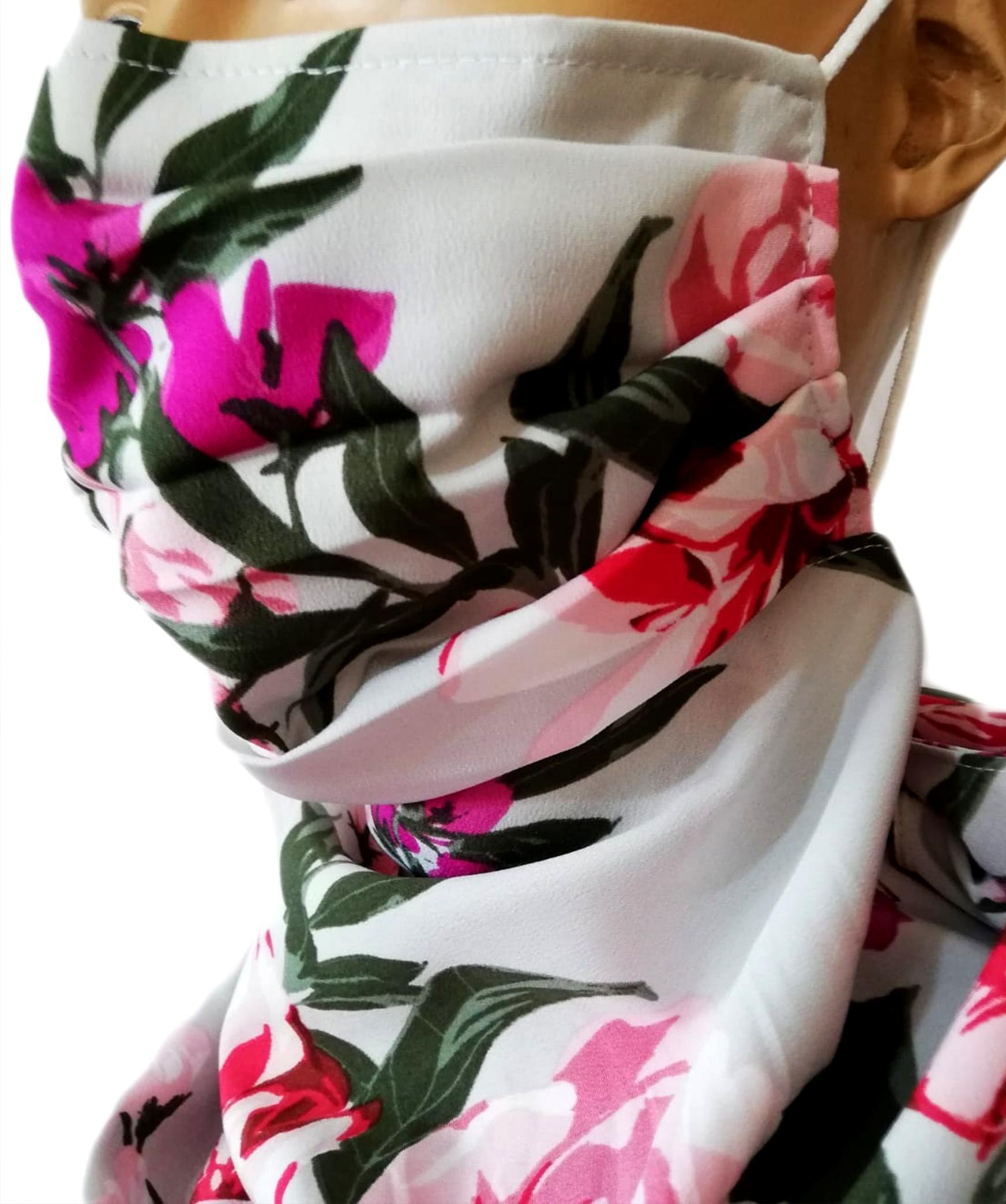 Masca reutilizabila si Esarfa 2in1 imprimeu floral, Masca reutilizabila si Esarfa 2in1 imprimeu floral
