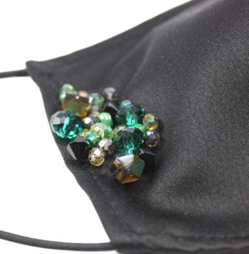 Masca fashion cu strasuri verzi