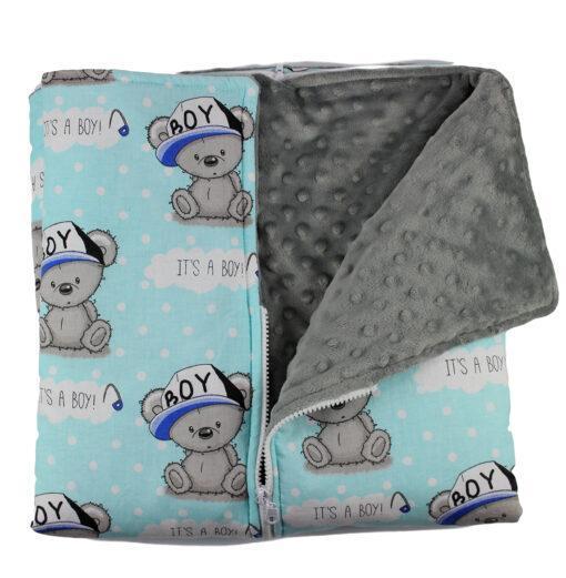 Paturica bebe si sac de dormit 3in1 cu imprimeu IT'S A BOY, Paturica bebe si sac de dormit 3in1